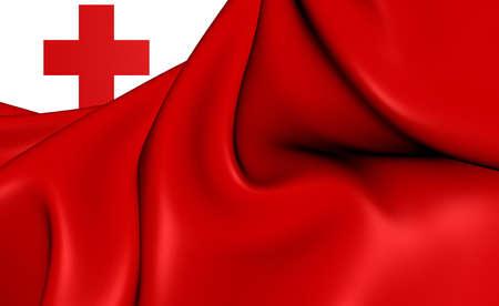 tonga: 3D Flag of the Tonga. Close Up.