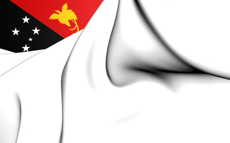 ensign: 3D Naval Ensign of the Papua New Guinea. Close Up. Stock Photo