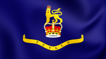 governor: Governor-General of Tuvalu 3D Flag. Close Up.