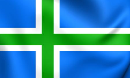 scots: 3D Flag of the Scottish Highlands. Close Up.
