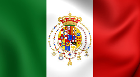 former: Kingdom of the Two Sicilies 3D Flag. Close Up.