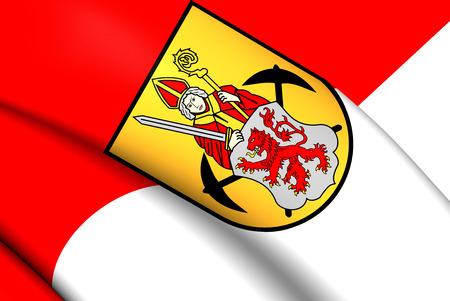 limburg: 3D Flag of the Kerkrade, Netherlands. Close Up. Stock Photo