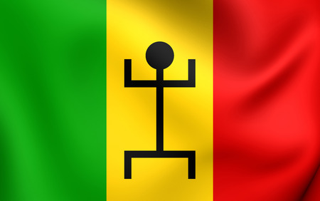 federation: 3D Flag of the Mali Federation (1959-1961). Close Up. Stock Photo