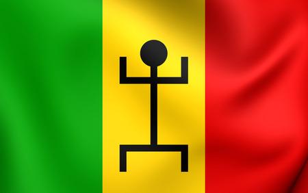 mali: 3D Flag of the Mali Federation (1959-1961). Close Up. Stock Photo