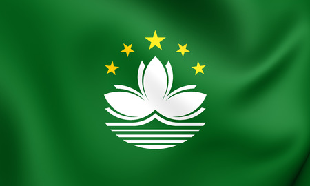 macau: 3D Flag of the Macau. Close Up.