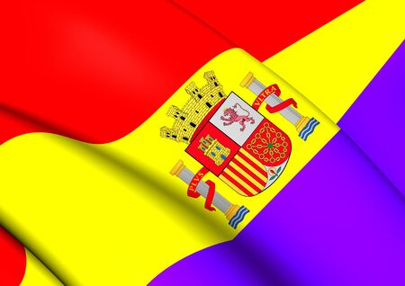 exile: 3D Flag of the Second Spanish Republic. Close Up.
