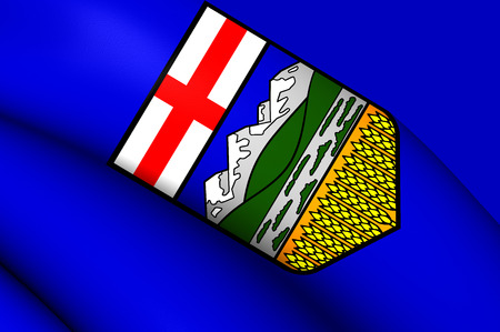 alberta: 3D Flag of the Alberta, Canada. Close Up. Stock Photo