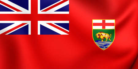 manitoba: 3D Flag of the Manitoba, Canada. Close Up.