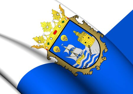 provincial: 3D Flag of the Santander, Spain. Close Up.