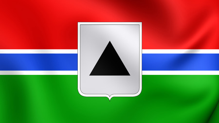 magnitogorsk: 3D Flag of the Magnitogorsk (1998), Russia. Close Up.