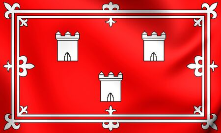 aberdeen: 3D Flag of the Aberdeen, Scotland. Close Up.