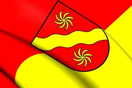 munster: 3D Flag of the Warendorf Kreis, Germany. Close Up.