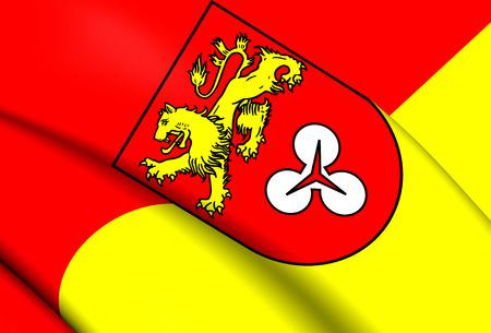 region: 3D Flag of the Hanover Region, Germany. Close Up.