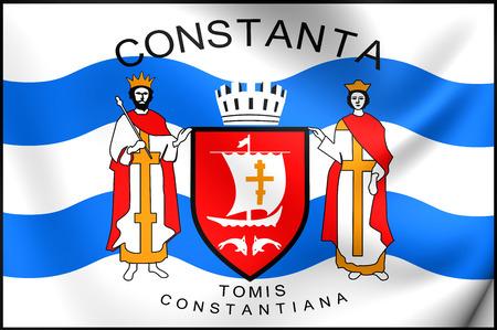 rumanian: 3D Flag of the Constanta, Romania. Close Up.