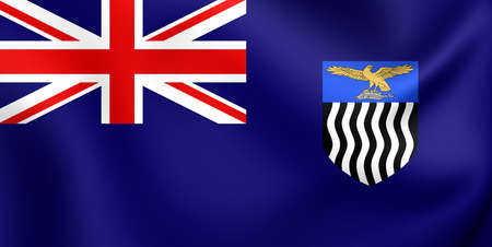 zambian: 3D Flag of the Northern Rhodesia. Close Up.