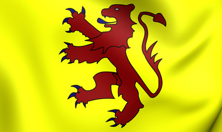 3D Flag of the Welsh Kingdom of Powys and the House of Mathrafal. Close Up. Stock Photo