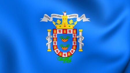 spainish: 3D Flag of the Melilla, Spain. Close Up.