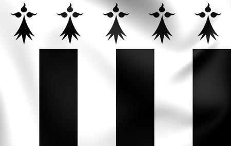 bretagne: 3D Flag of the Rennes, France. Close Up.