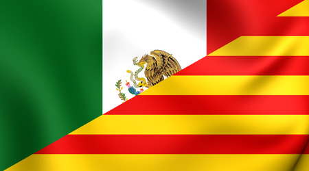 3D Flag of the Mexico and Catalonia. Close Up.