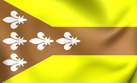 antilles: 3D Flag of the Dorado, Puerto Rico. Close Up.