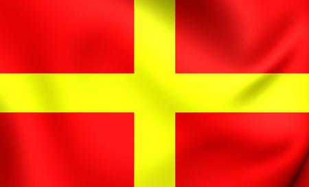region sicilian: 3D Flag of the Messina, Italy. Close Up.