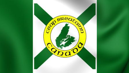 breton: 3D Flag of the Cape Breton Island. Close Up. Stock Photo