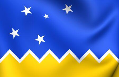 magallanes: 3D Flag of the Magallanes and Antartica Chilena Region. Close Up.