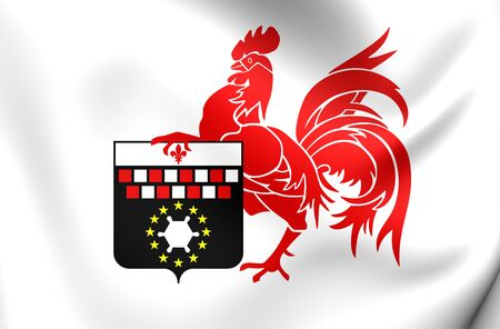 wallonie: 3D Flag of the Charleroi, Belgium. Close Up.