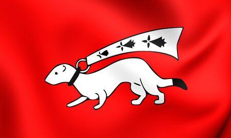 bretagne: 3D Flag of the Vannes, France. Close Up.
