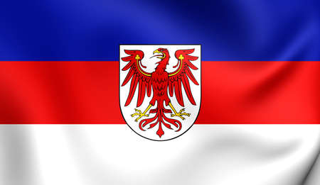 lower lusatia: 3D Flag of the Lower Sorbian Language. Close Up. Stock Photo