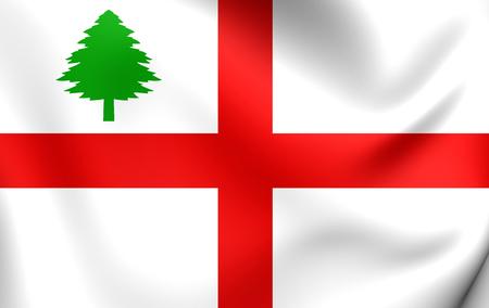 new england: 3D Flag of the New England (1686), USA. Close Up.