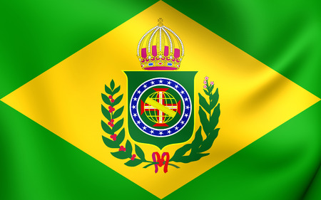 empire: Empire of Brazil Flag (1822-1889). Close Up.