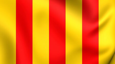 former: County of Foix 3D Flag, France. Close Up. Stock Photo
