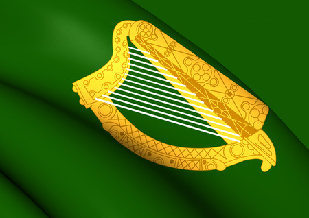 republic of ireland: 3D Flag of the Leinster Province, Ireland. Close Up.