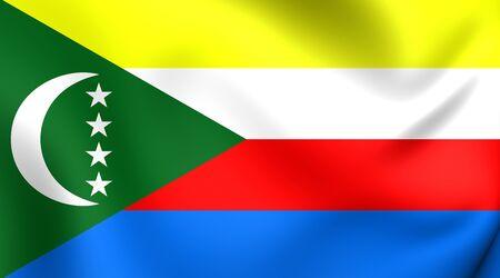 3d flag: 3D Flag of the Comoros. Close Up. Stock Photo