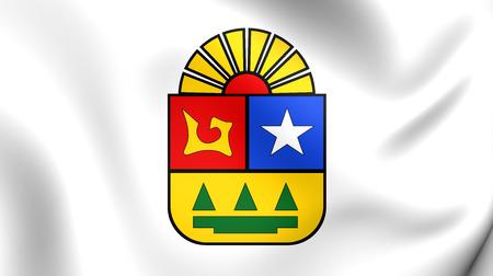 3D Flag of the Quintana Roo, Mexico. Close Up.