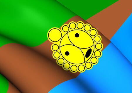 bandera de puerto rico: Bandera 3D del Utuado, Puerto Rico. Acercamiento.