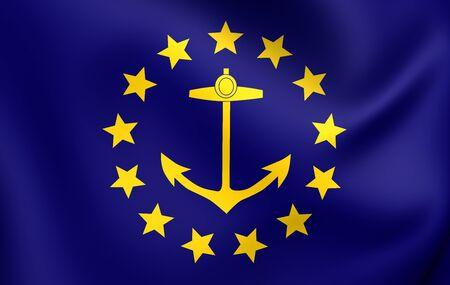 new england: 3D Flag of the Rhode Island (1882-1897). Close Up.