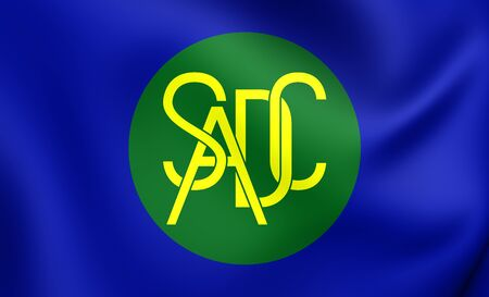 3D Flag of the Southern African Development Community. Close Up. Stock Photo