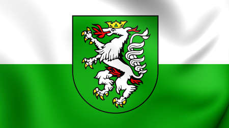 statutory: 3D Flag of the Graz, Austria. Close Up.