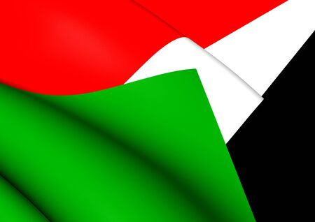 Sudan: 3D Flag of the Sudan. Close Up. Stock Photo