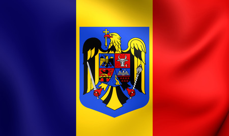 rumanian: 3D Flag of the Romania. Close Up.