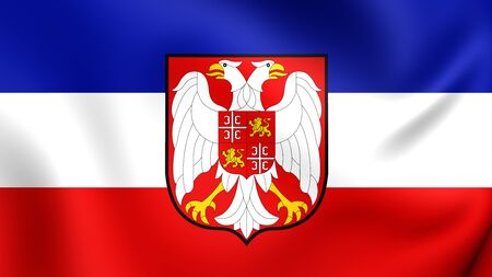republika: 3D Flag of the Serbia and Montenegro. Close Up.