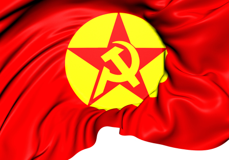 dev: 3D Flag of Revolutionary Peoples Liberation Party-Front (DHKPC). Close Up.