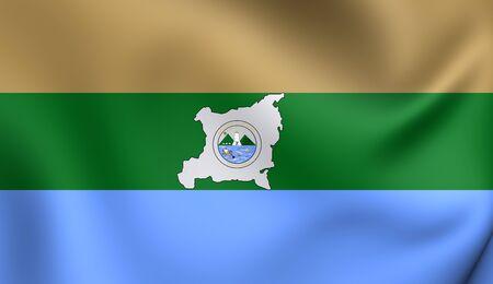 Region Autonoma del Atlantico Norte Flag, Nicaragua. Close Up. Banco de Imagens