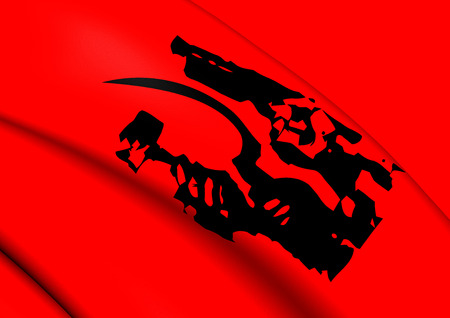 liberation: 3D Flag of the Afghanistan Liberation Organization. Close Up.