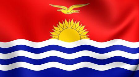 kiribati: 3D Flag of the Kiribati. Close Up. Stock Photo