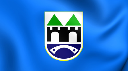 bosnia: 3D Flag of the Sarajevo, Bosnia and Herzegovina. Close Up.