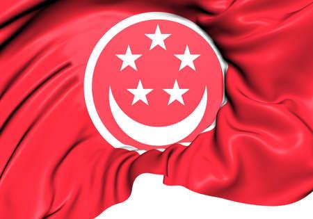 singaporean flag: 3D Civil Ensign of Singapore. Close Up. Stock Photo