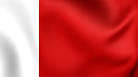 3D Emirate of Ajman Flag, United Arab Emirates. Close Up. Stock Photo